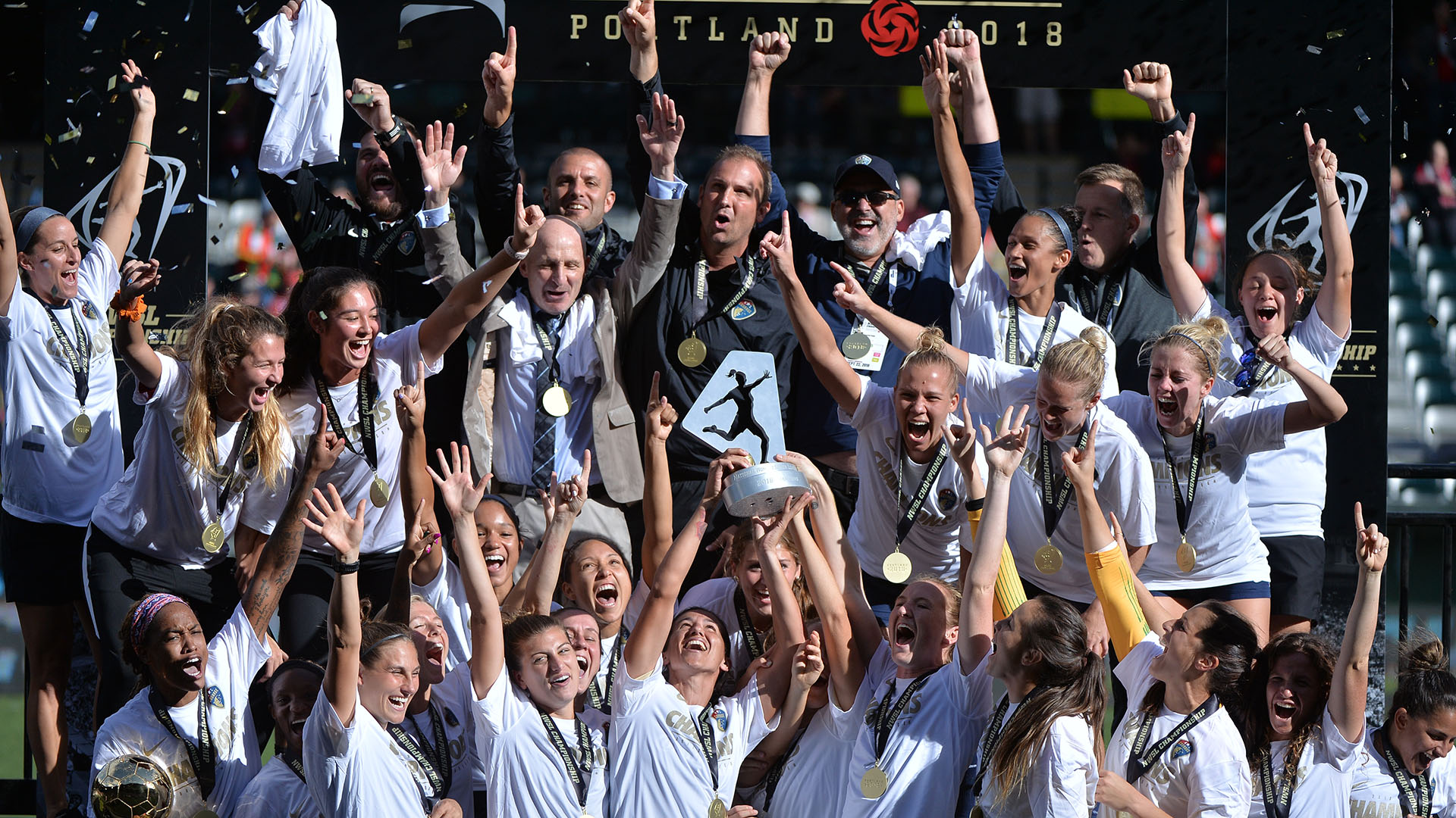 North Carolina Courage captain Abby Erceg and her teammates lift the NWSL Championship trophy after their NWSL Championship win over Portland Thorns FC at Providence Park on September 22, 2018. (Photo credit: John Todd/isiphotos.com)
